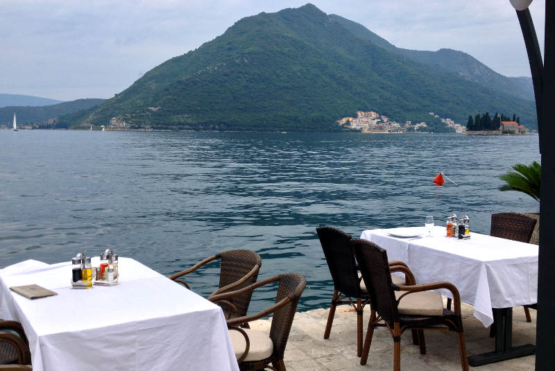 Perast waterfront dining at Boka Bay - meanderbug