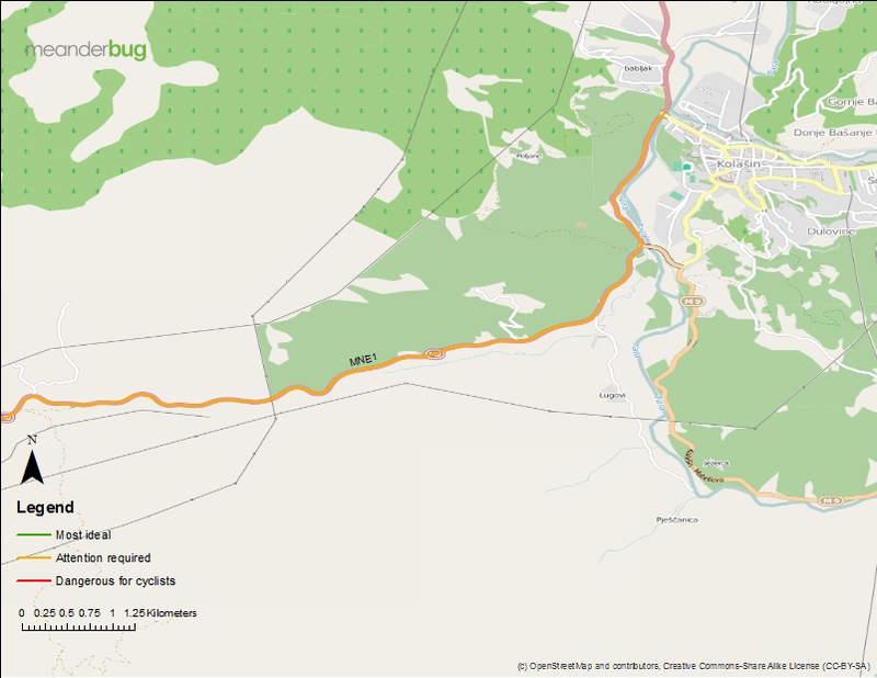 Kolasin - Podgorica bicycle touring map 1 of 8