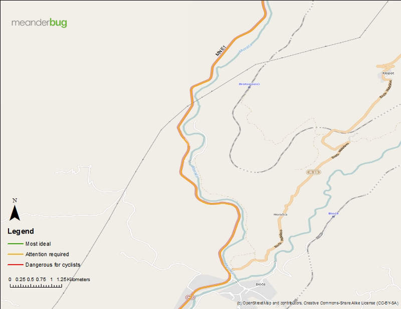 Kolasin - Podgorica bike touring map 6 of 8