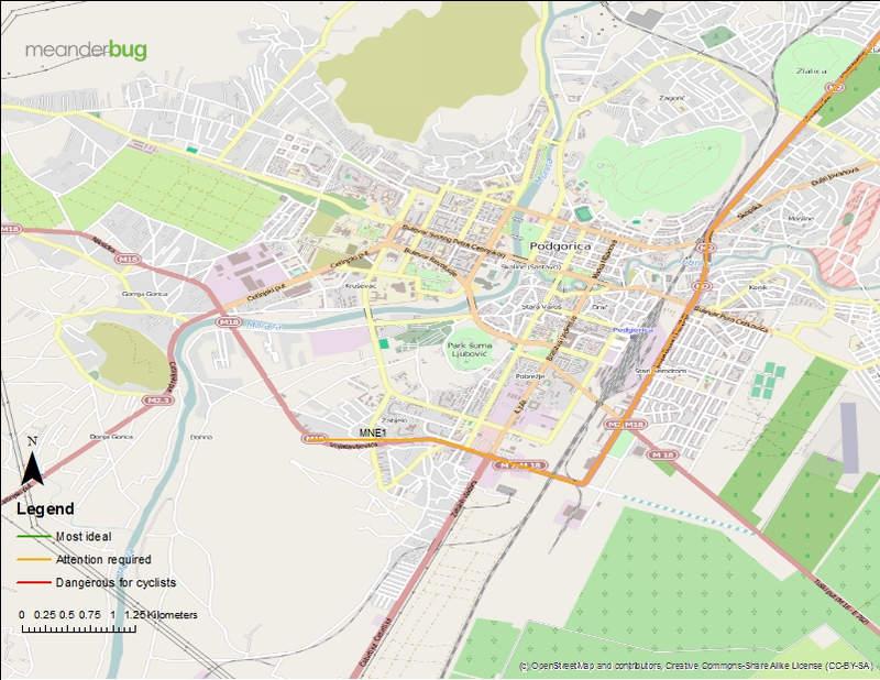 Kolasin - Podgorica bike touring map 8 of 8