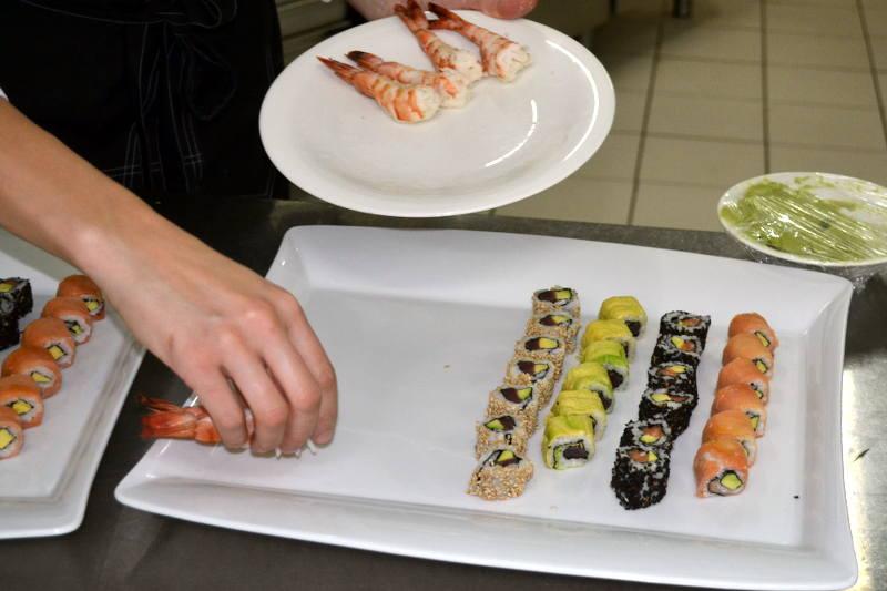 Sushi prep in Hotel Podgorica kitchen - meanderbug