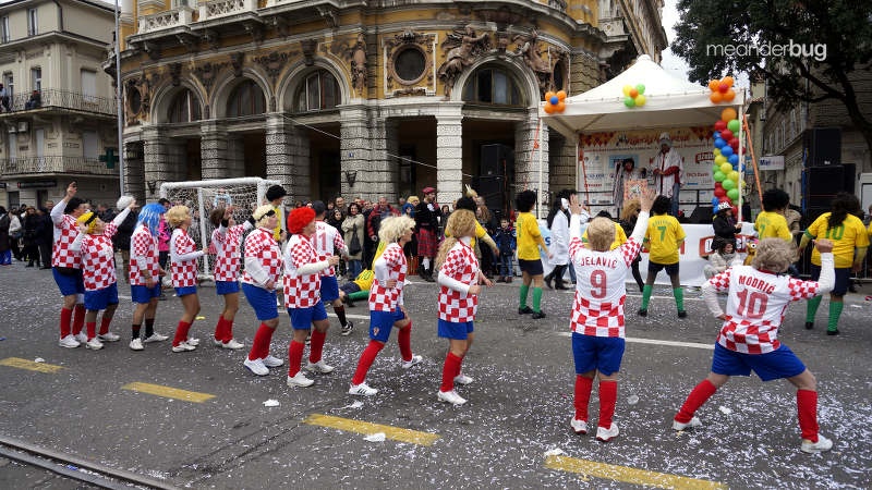 Honoring the Croat soccer team at Carnival parade in Rijeka - meanderbug
