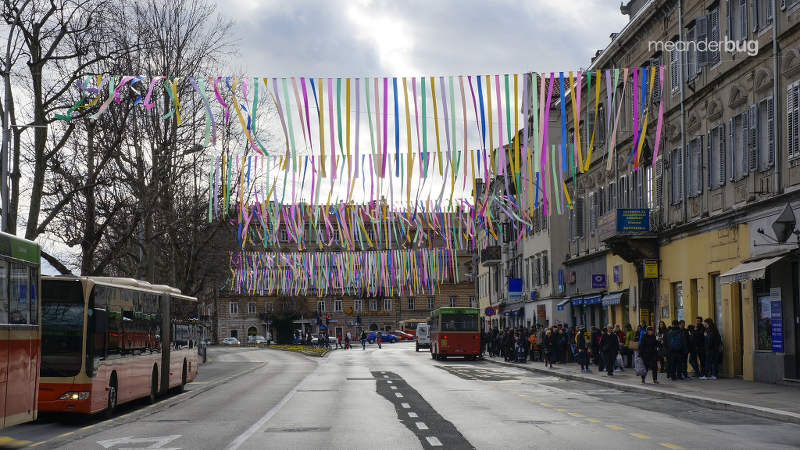 Carnival Festival on the parade route in Rijeka, Croatia - meanderbug