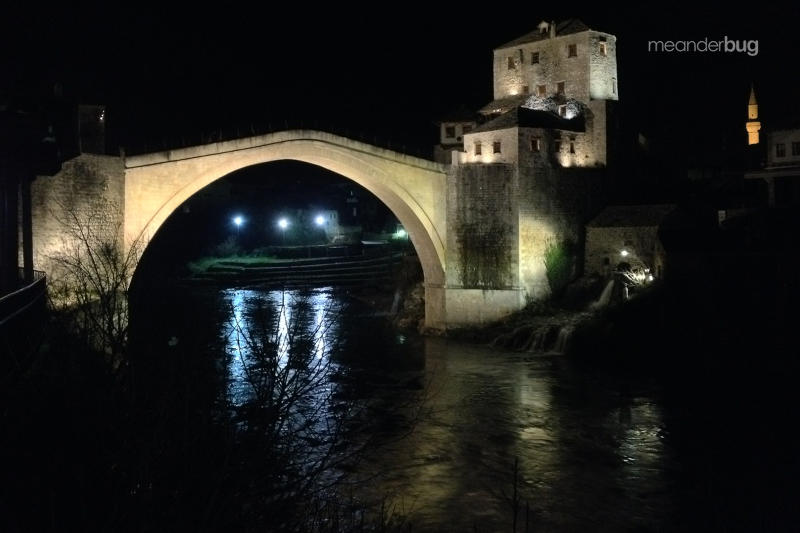 Mostar bridge at night - meanderbug