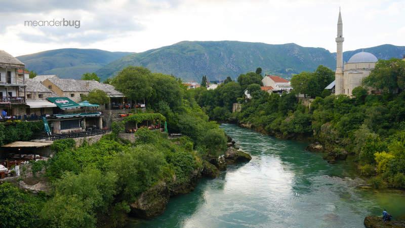 Downriver from the Mostar Bridge - photo by Truman Yu
