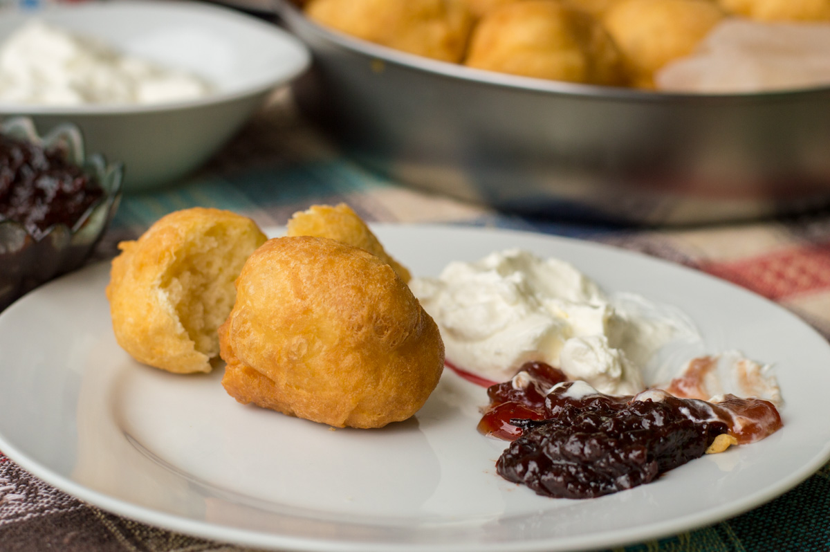 Montenegrin priganice with kajmak and fresh jam