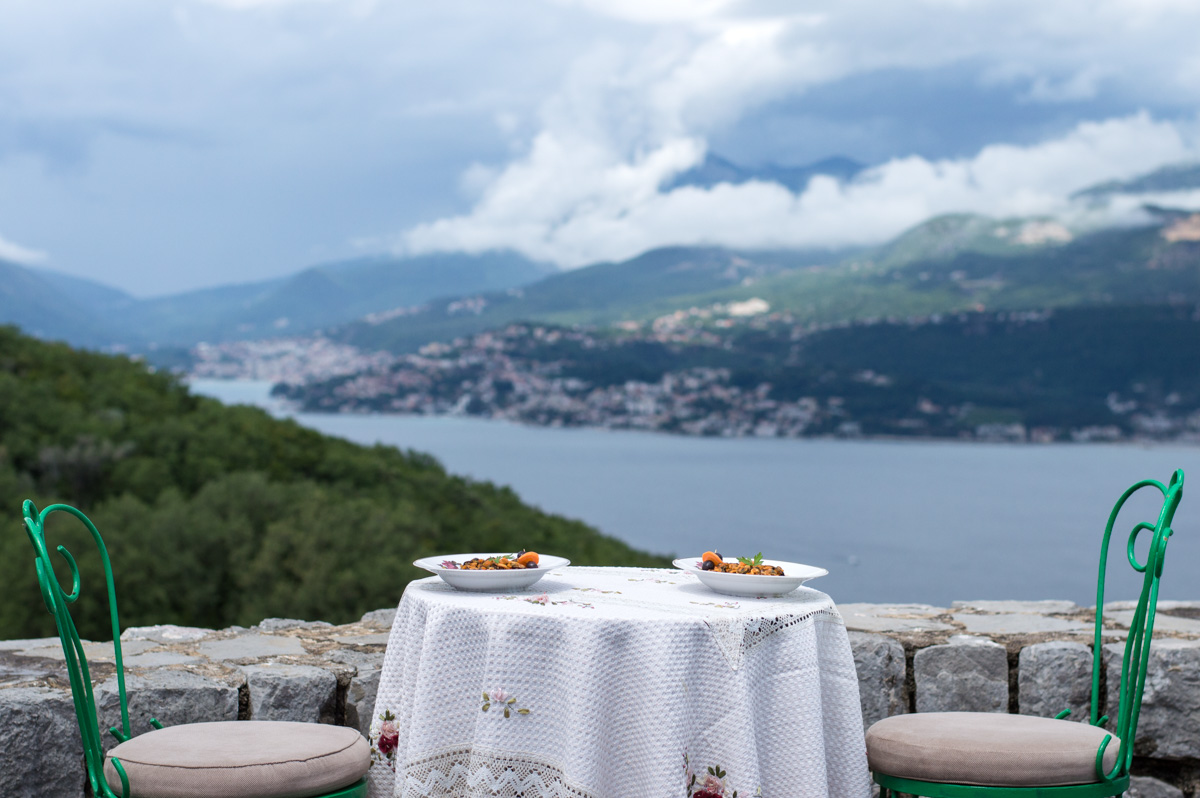 mussels and fresh fish served on the coast of Montenegro