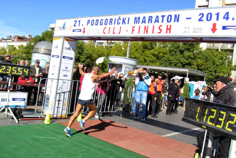 Finishing the Podgorica Marathon