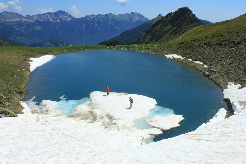 Glacial lake on a peak in Kosovo - Liqeni Tropojs, 2230 m