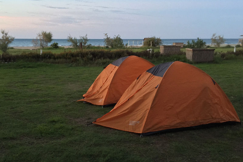 Camping in tents near the beach in Montenegro