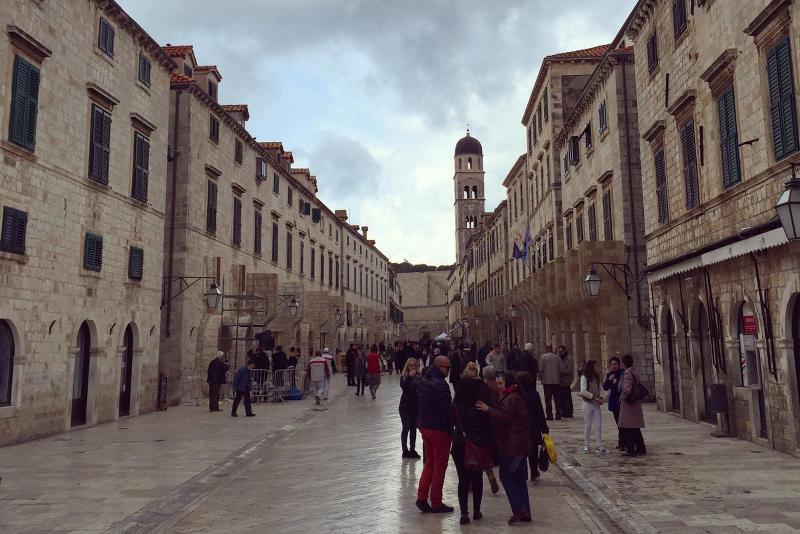 Exapansive Star Wars set on Stradun St. in Dubrovnik