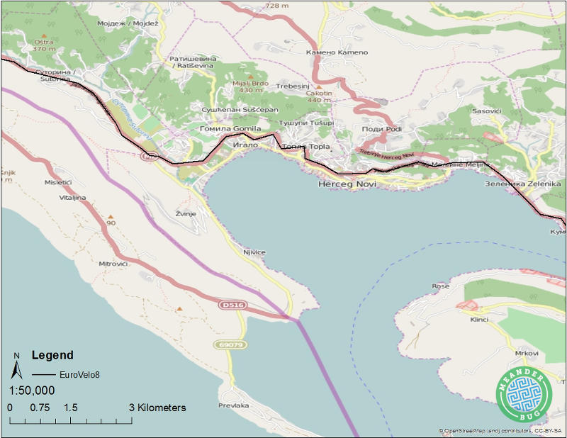 EuroVelo 8 - Montenegro route 12 (Herceg Novi)