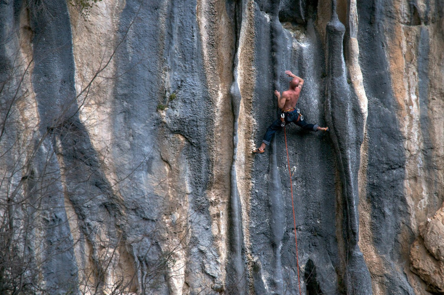 Rock climbing in Bovilla Canyon near Tirana, Albania