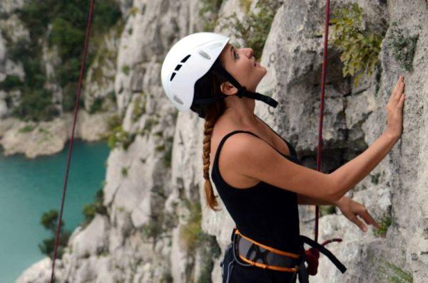 Rock climbing at Gjipe Beach