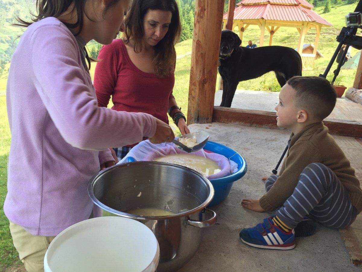 kids making cheese in Montenegro