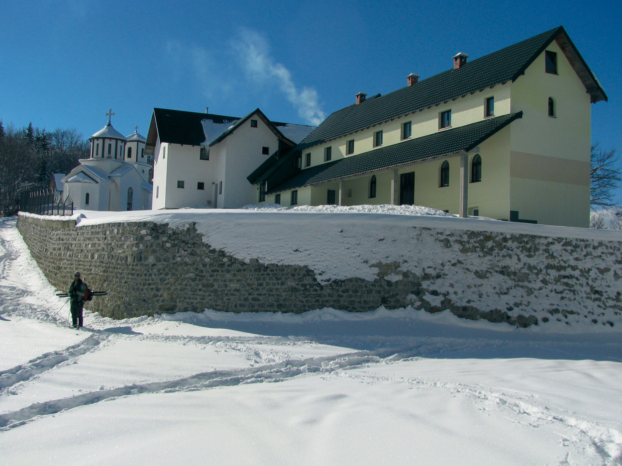 An Orthodox monastery on cross country ski route in Montenegro