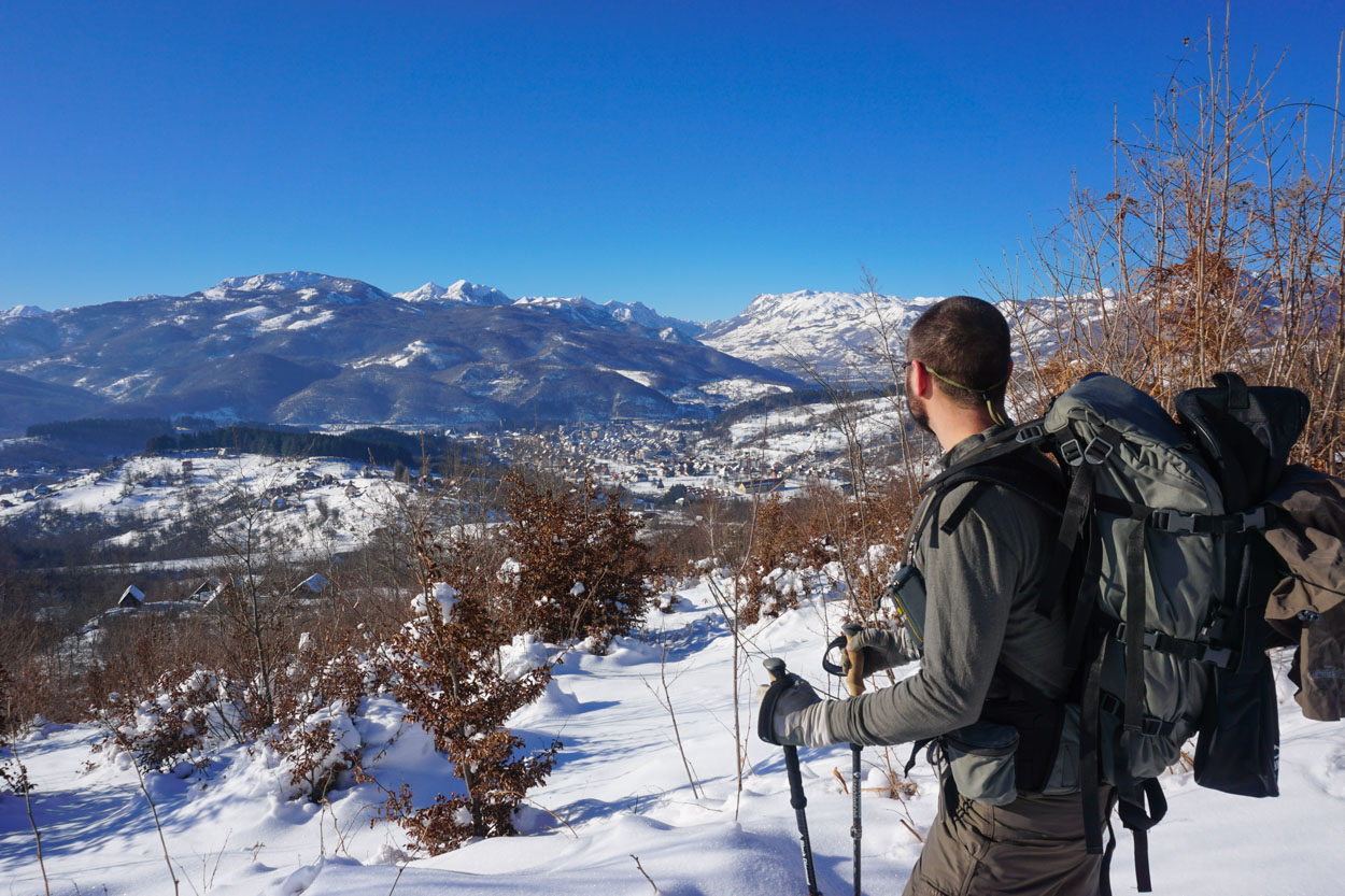 Looking down on Kolasin, Montenegro while cross country ski touring