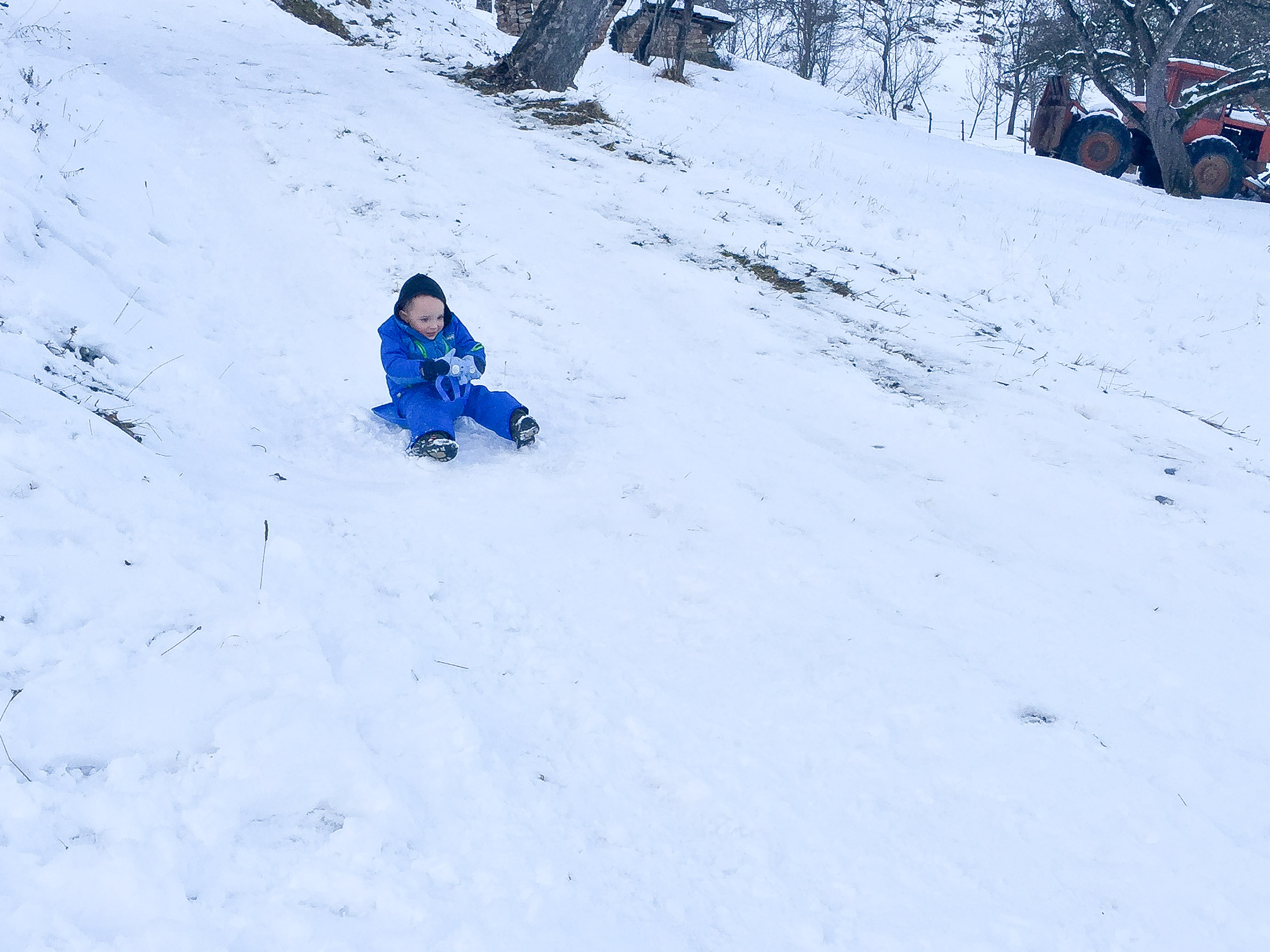 Toddler enjoying a sledding adventure in Montenegro