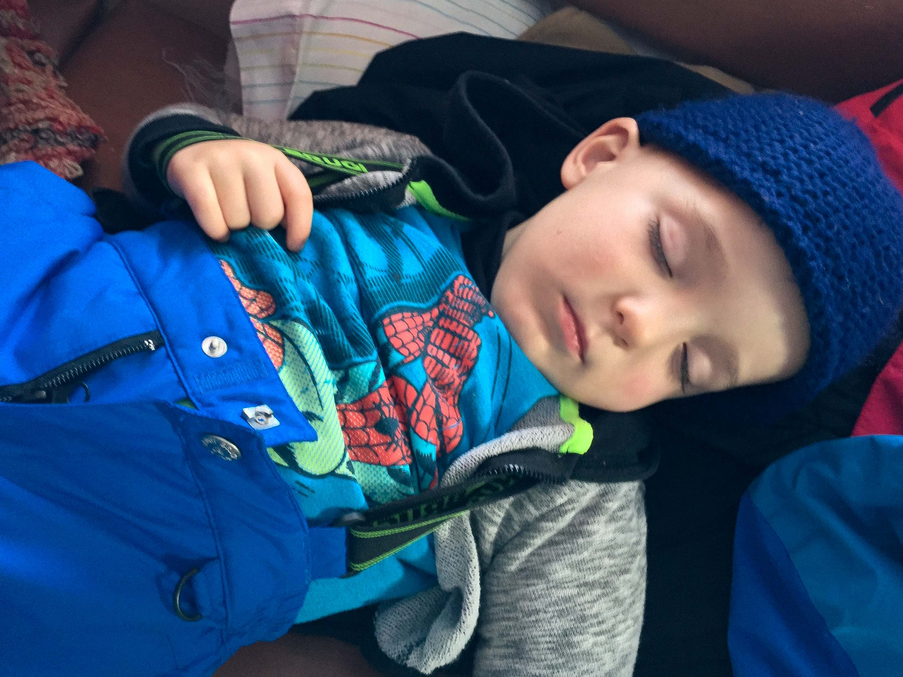 Toddler taking a winter nap at Montenegro farm stay