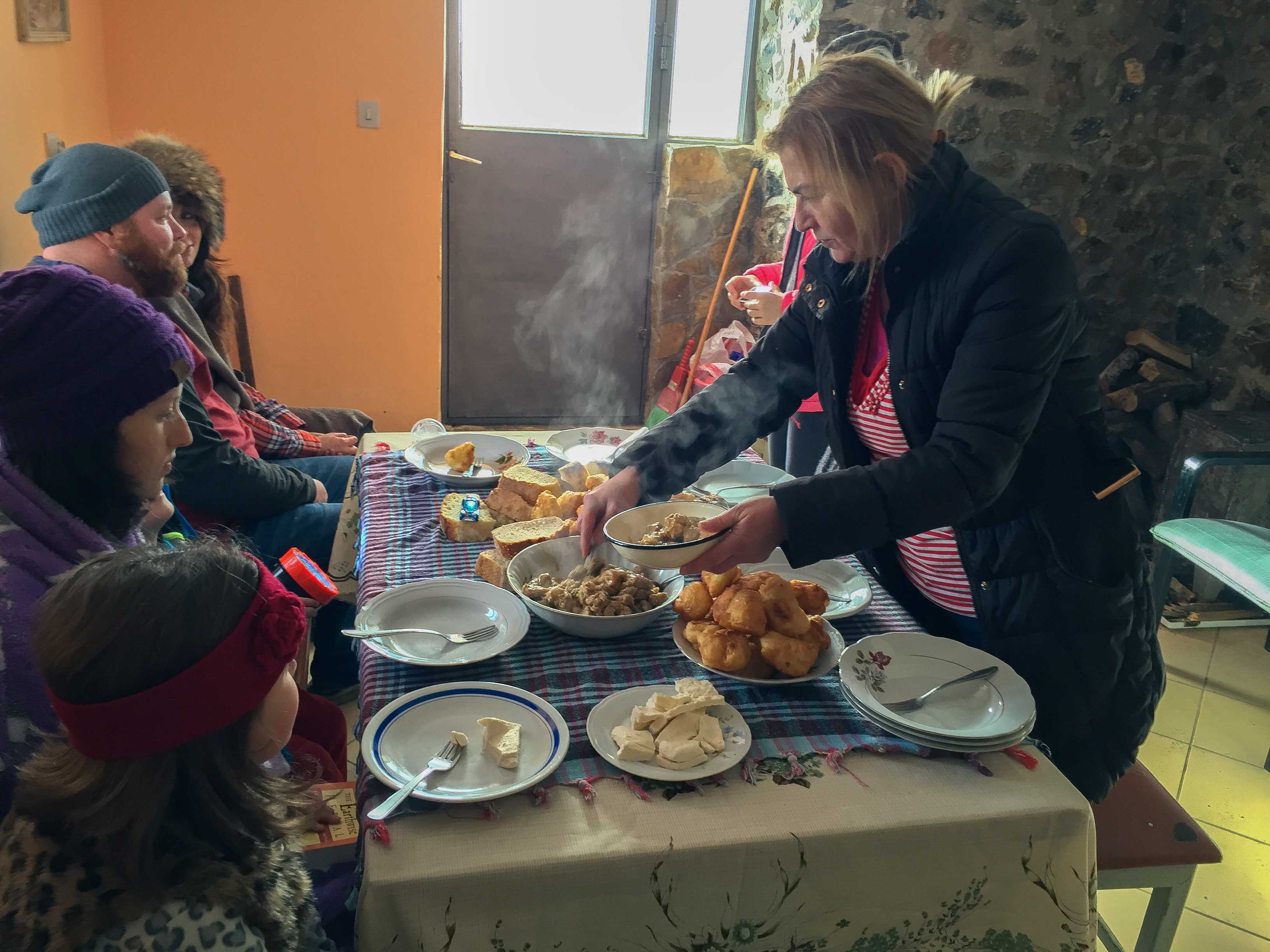 Piping hot organic food at Meanderbug farm stay network in Montenegro