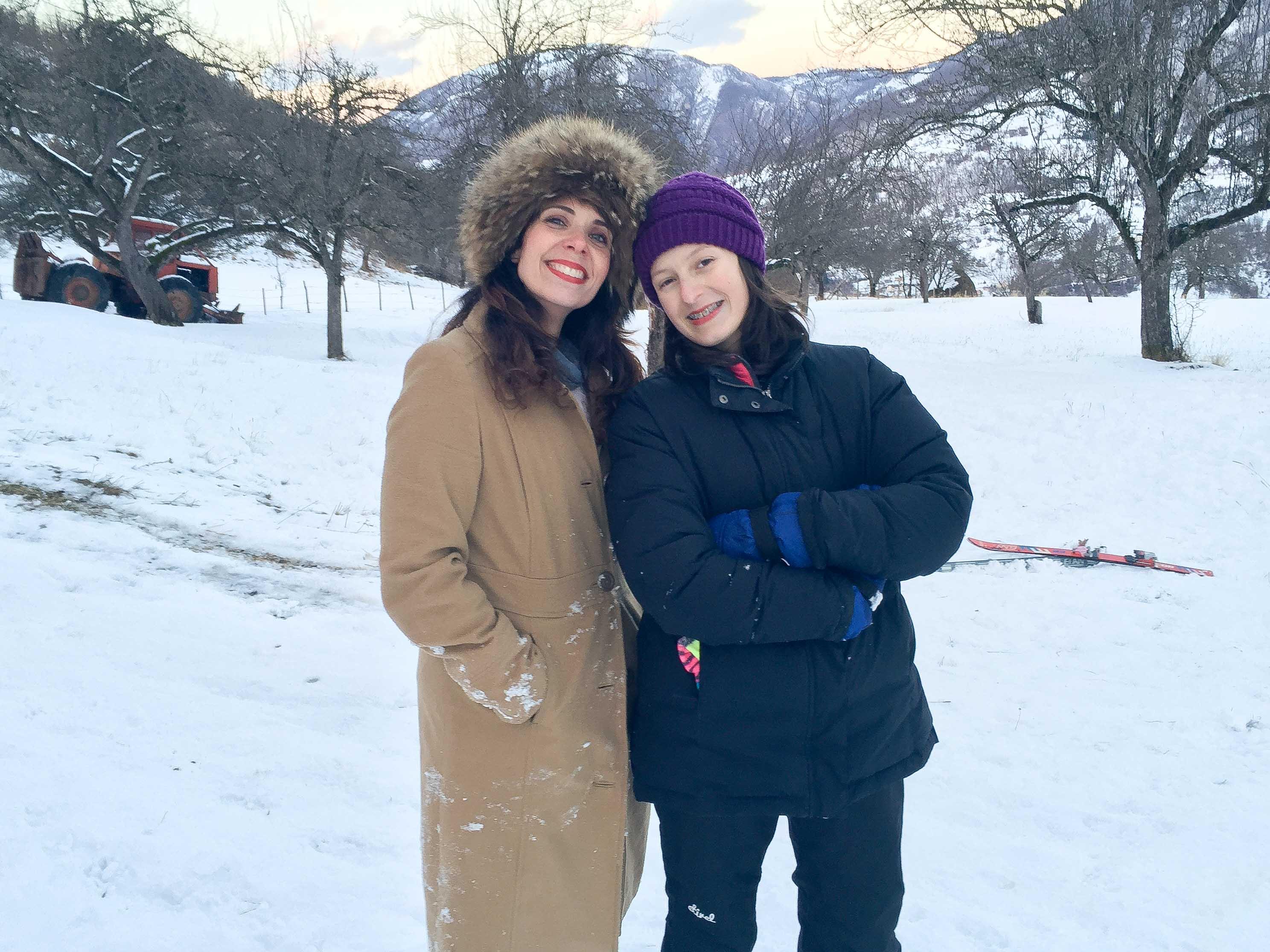 Ladies posing in the snow mountains of Montenegro