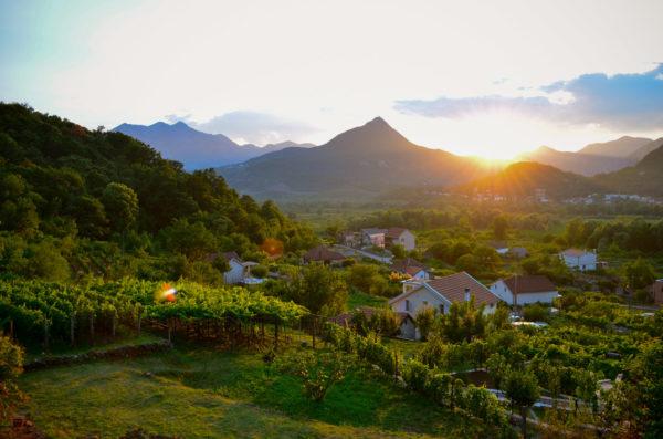 Sunset on the mountains near Virpazar