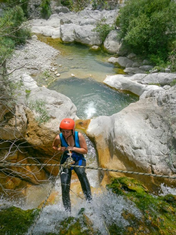 Rope belaying during a canyoning adventure in Montenegro