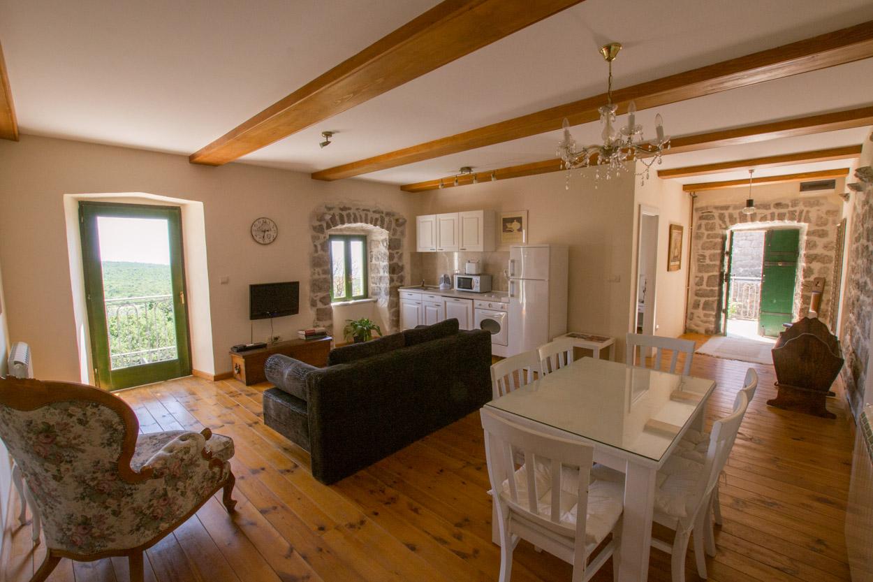 Open living area in the Landlord's Suite at Klinci Village Resort on Lustica