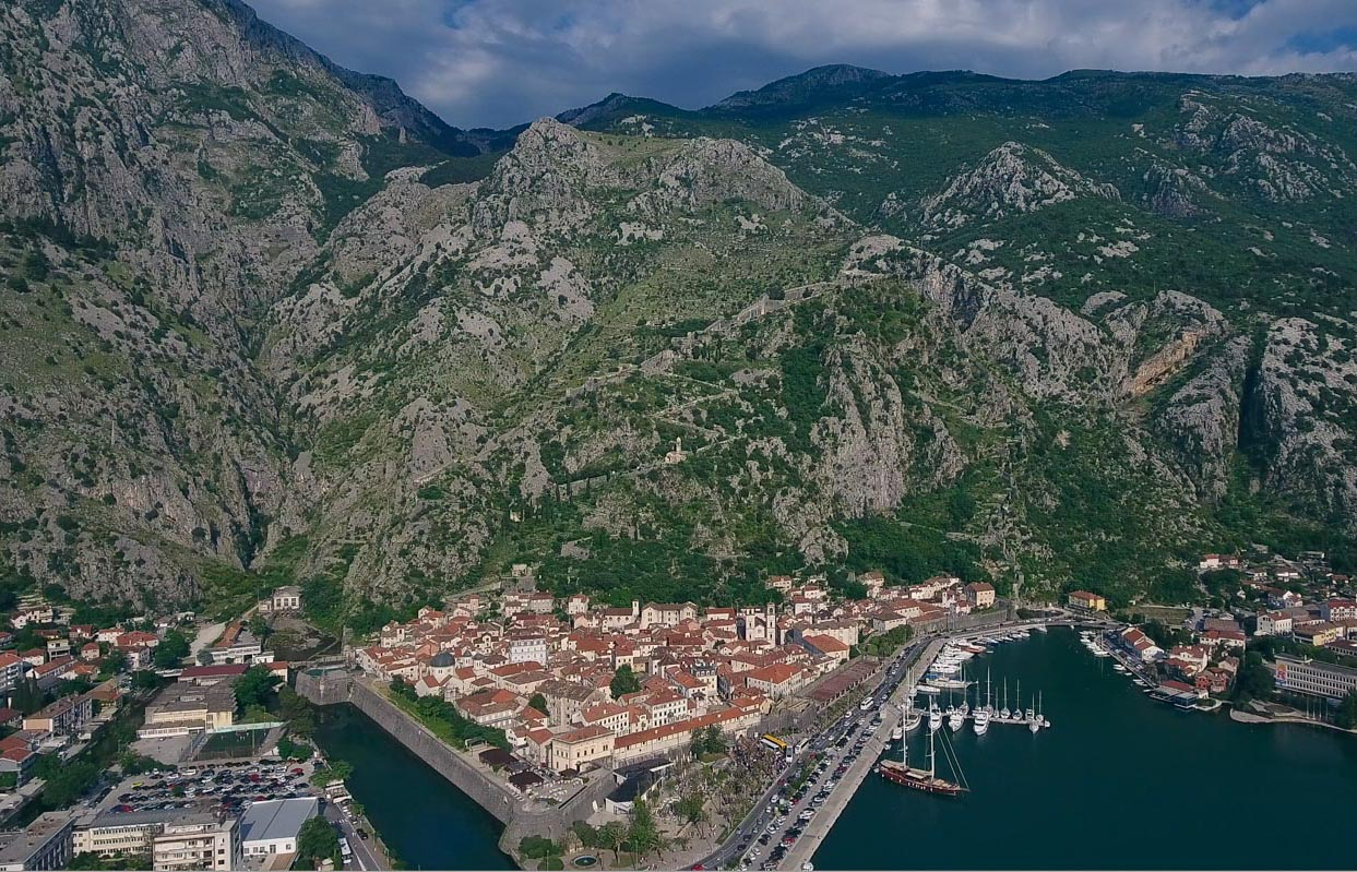 Kotor Old Town and Fortress with mountain
