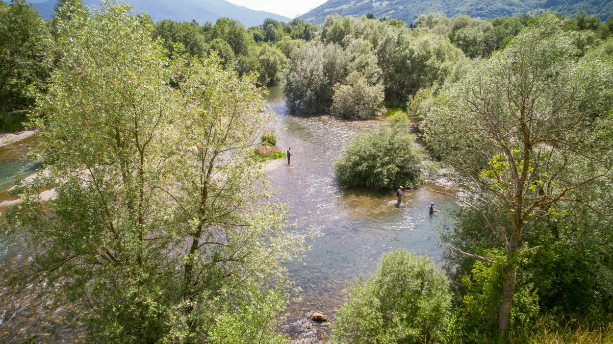 Aerial Photo of Fly Fishing in Lim River in Montenegro