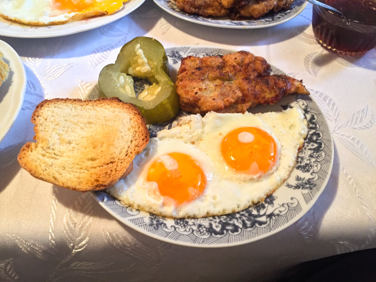 Fresh farm to table breakfast for fly fishers