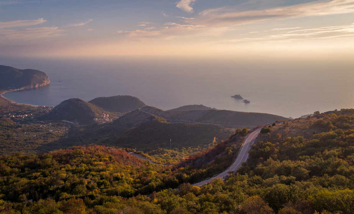 Petrovac at sunset part of the view during drive montenegro