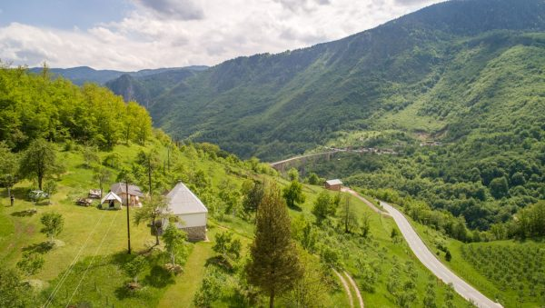 Aerial photography of farm stay over Tara Bridge in Montenegro