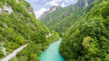 Rafting the Tara River aerial photography view