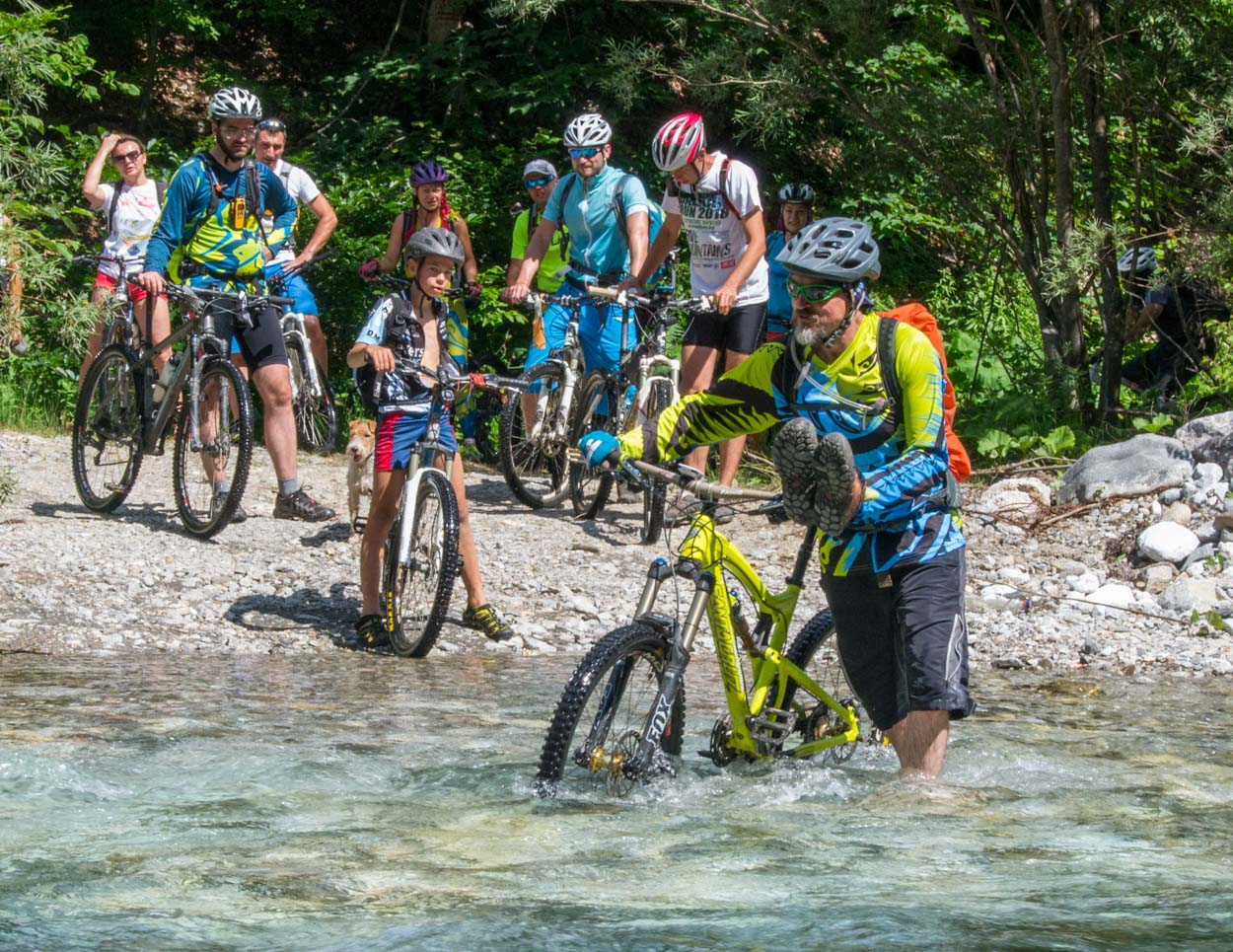 MTB river crossing in Northern Montenegro