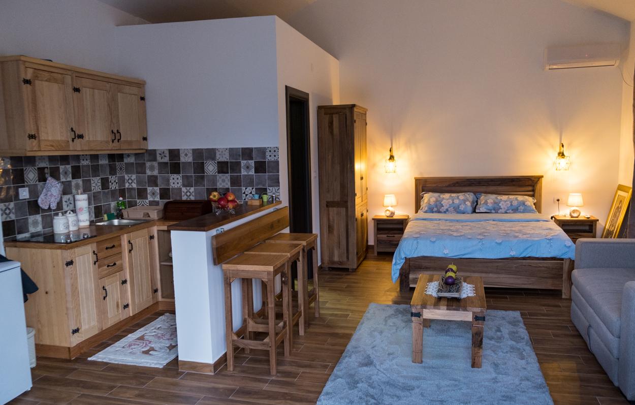 Interior of bird suite in Prevalis Cottage winery in Montenegro