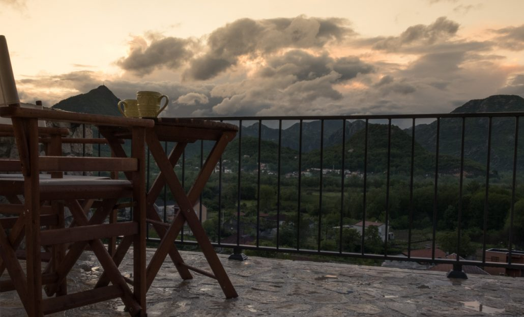 Terrace view at rainy sunset evening near Skadar Lake