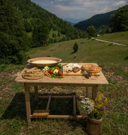 Organic farm to table foods with scenic view