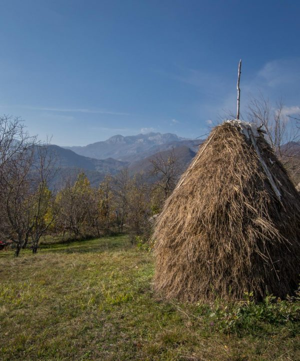 Haystack with mountain views