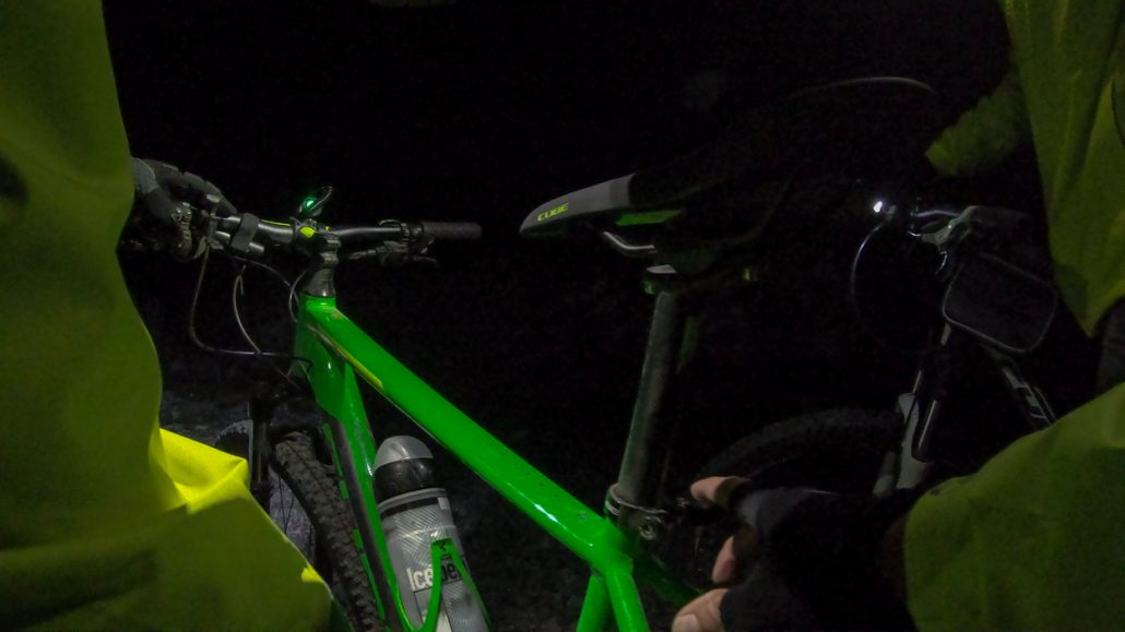 CUBE MTB bike adjustments during night ride