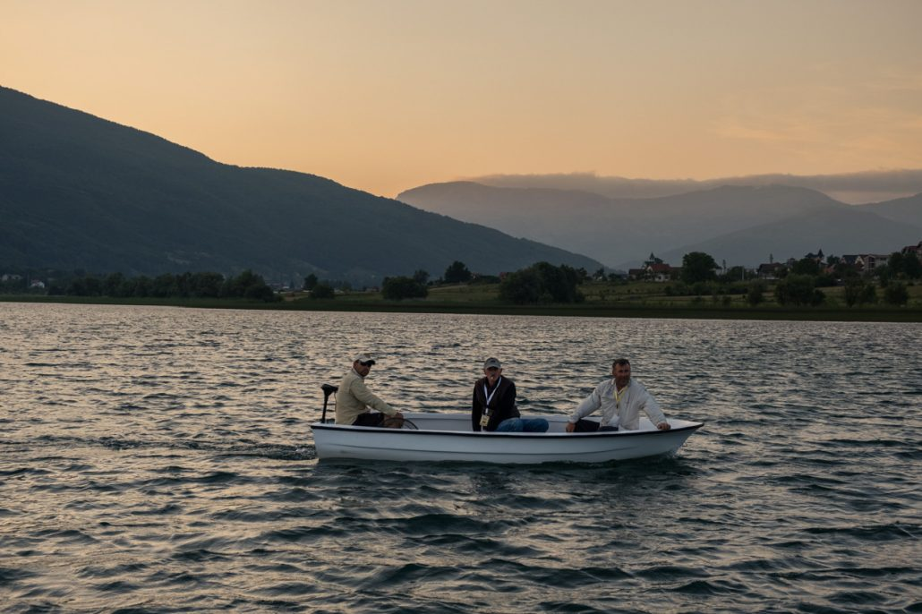 Fly fishing by boat in Lake Plav, Montenegro