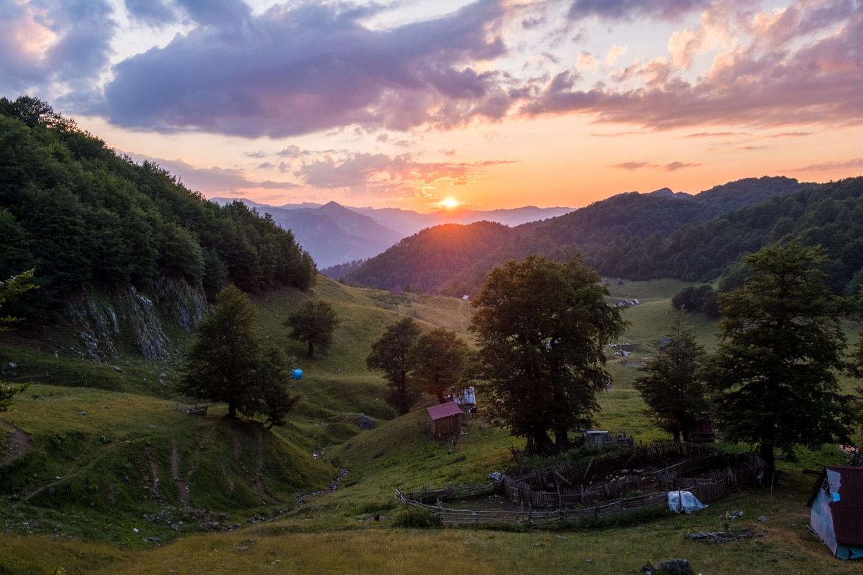Sunset view from Goles Katun looking out over Biogradska Gora National Park