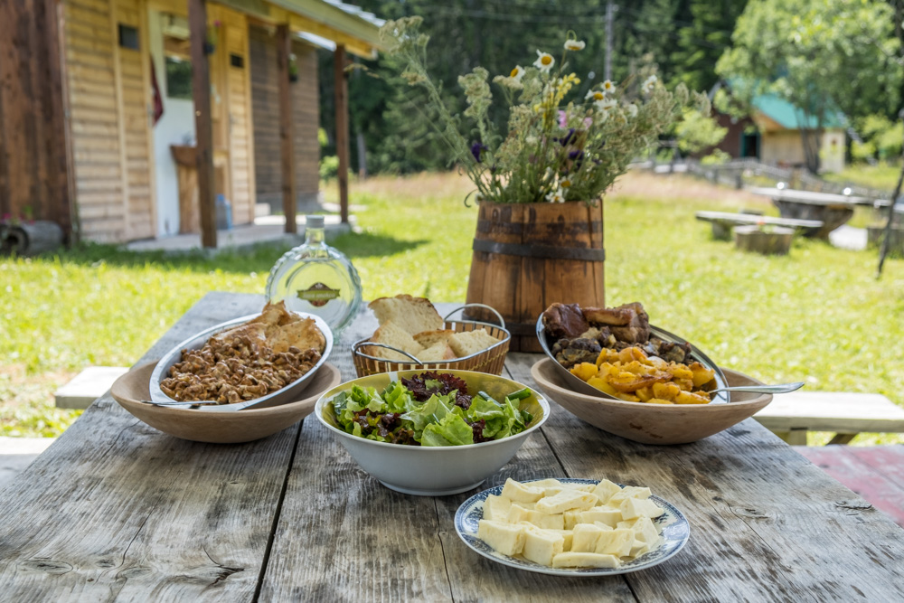 Organic farm to table foods in Durmitor National Park at Meanderbug farm stay