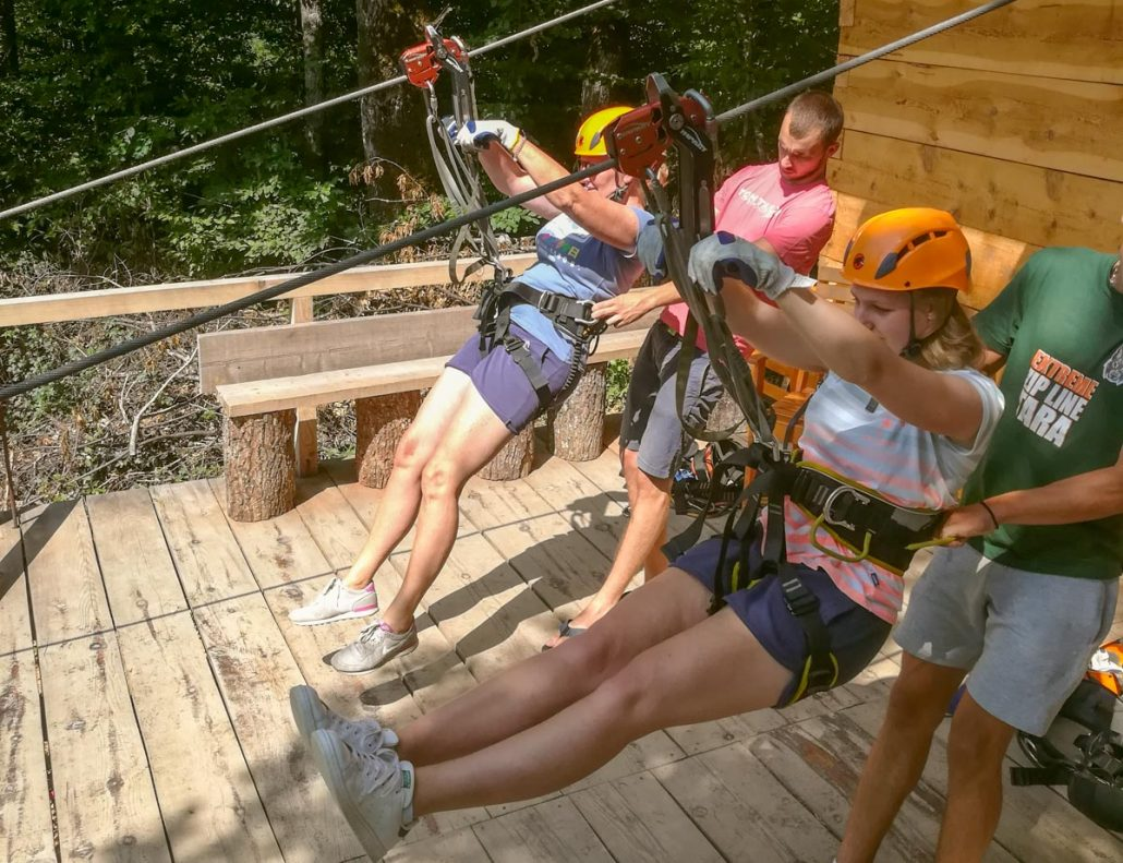 Norwegian family ziplining during a family holiday