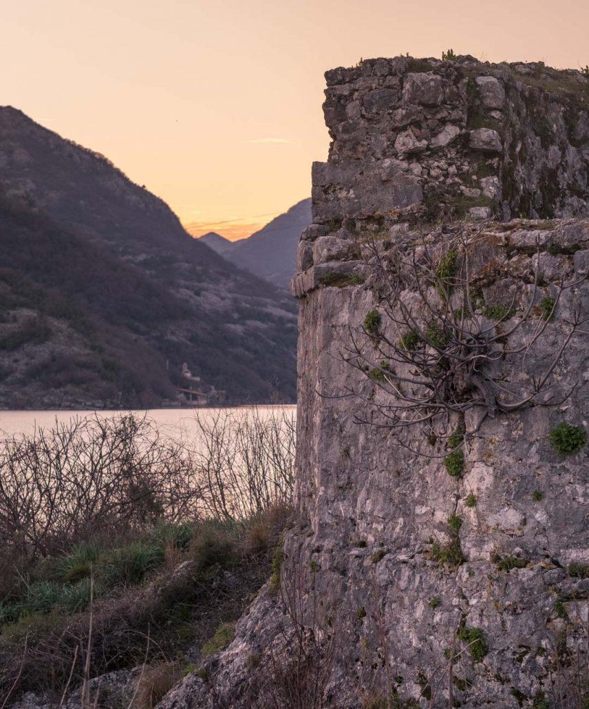 Lesendro Fortress on Skadar Lake at sunset