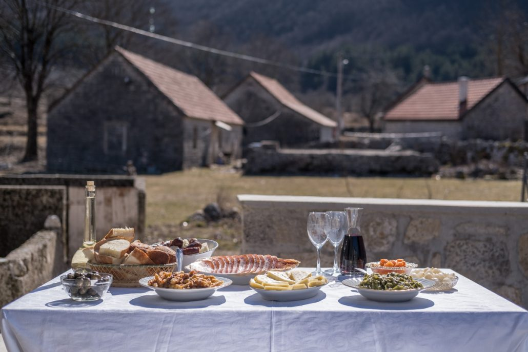 Farm to fork dinner in Njegusi Village near Lovcen National Park