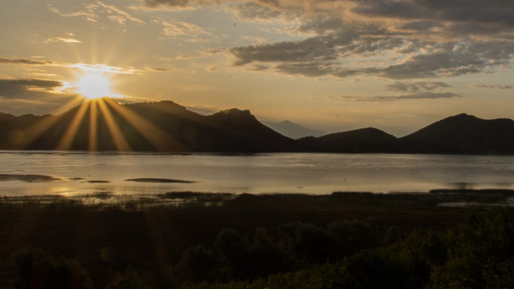 Brilliant sunset on Montenegro's Lake Skadar